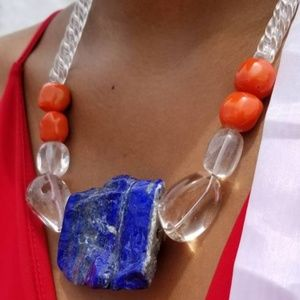 Lapis Lazuli and Quartz Handcrafted Necklace
